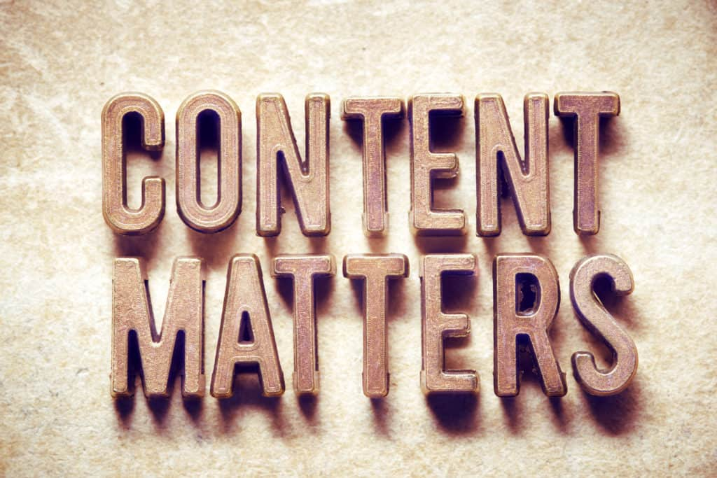 content matters phrase made from metallic letters on grunge background