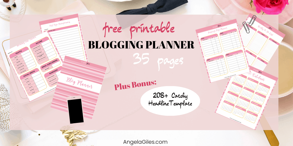 photograph regarding Blog Planner Template identified as Cost-free Printable 2019 2020 Website Planner Involves 208+ Catchy