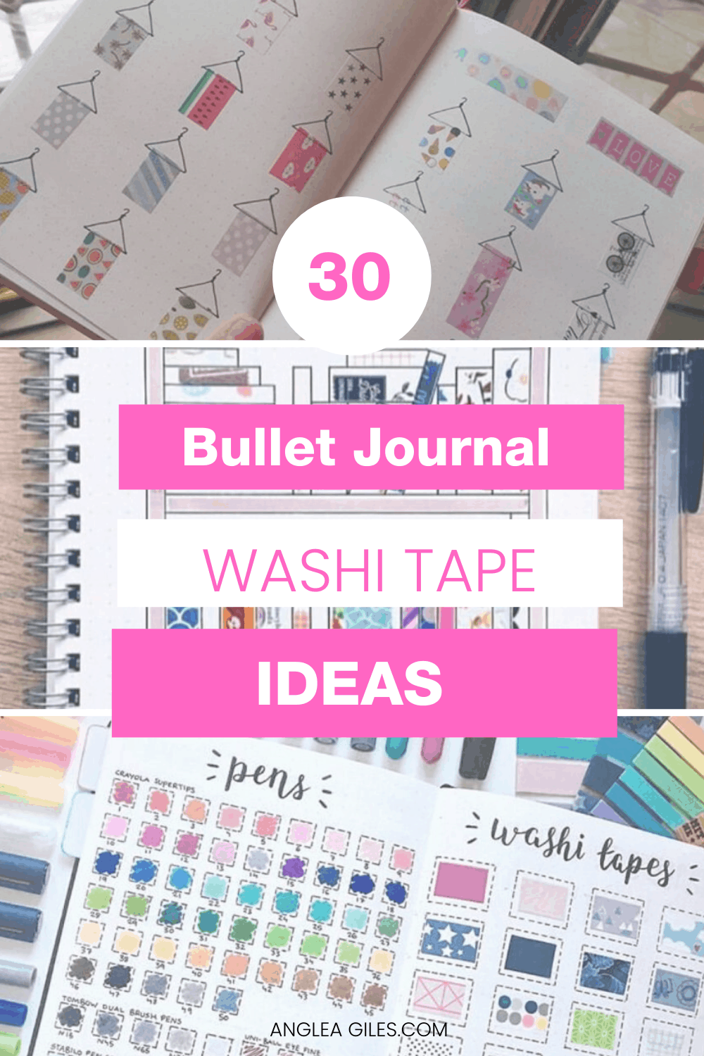 Washi Tape Ideas for Bullet Journals that you will love!  How to use washi tape in your bujo planners, over 30 creative washi tape ideas & washi collections for your inspiration.