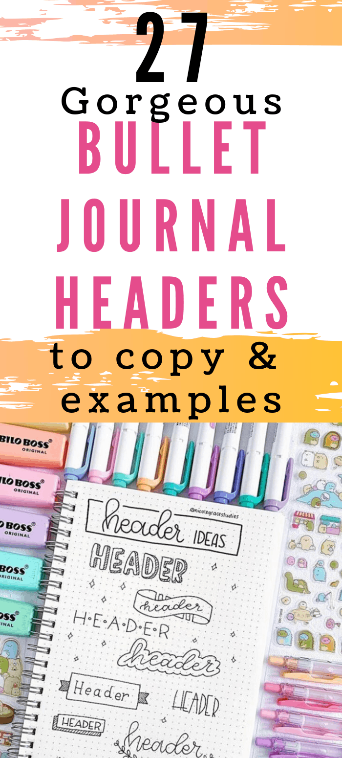 Spice up your bullet journal with headers and banners.  Take your handwriting and doodle skills for a whirl when you create your titles.  These simple ideas will give you weekly inspiration as you try new fonts.  These are perfect for bujo addicts who like flair and even those who are more minimalistic in nature. Check out these divine bullet journal headers & banners in your next spreads and layouts! #bulletjournalheadersbanners #bulletjournalheadershandlettering #bulletjournalheadersdoo...