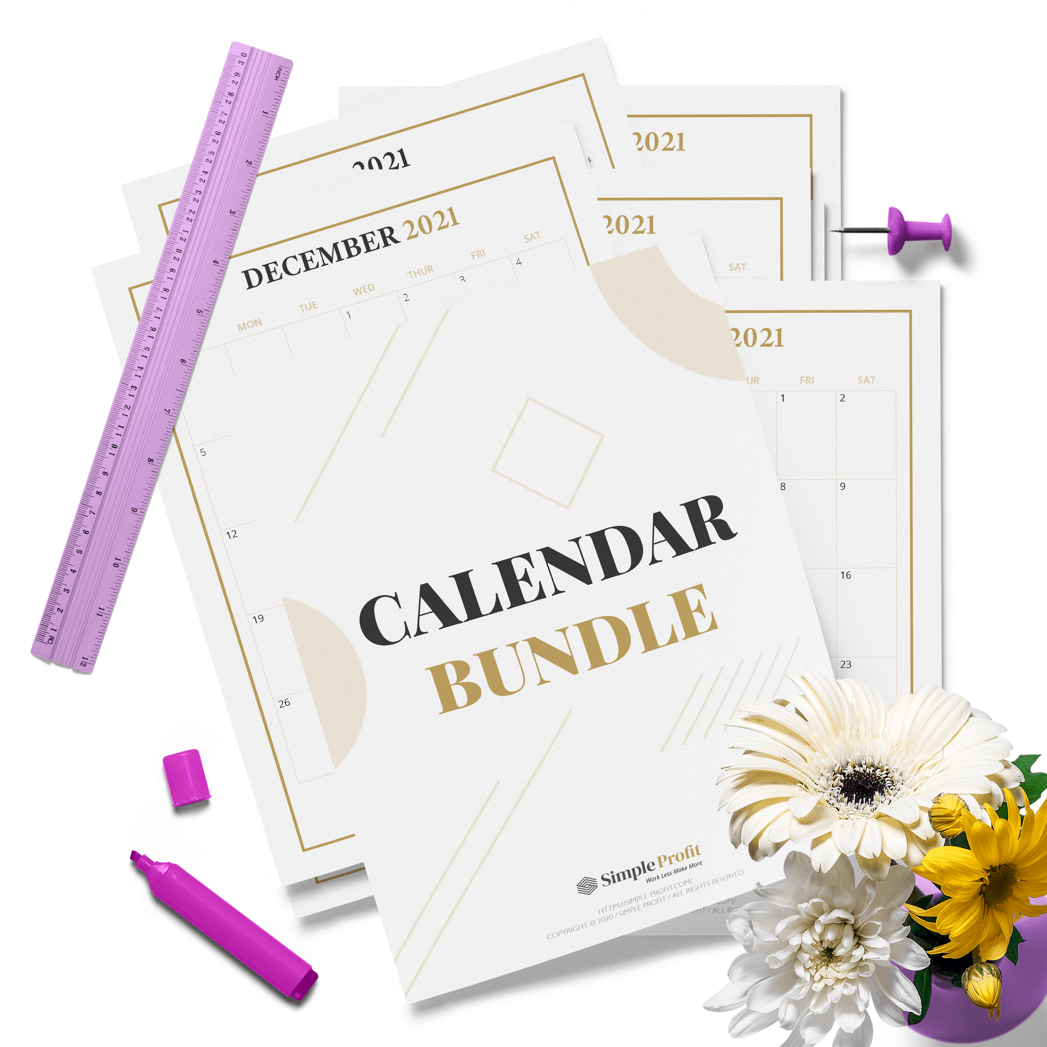 Free 2021 Calendar Printable Bundle: Monthly And Year At A ...